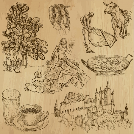 spanish food: traveling Spain - hand drawings into vector set 3