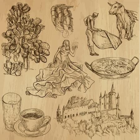 artes plasticas: viajar Espa�a - dibujos a mano en conjunto de vectores 3