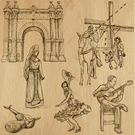 viajar España - dibujos a mano en conjunto de vectores 4