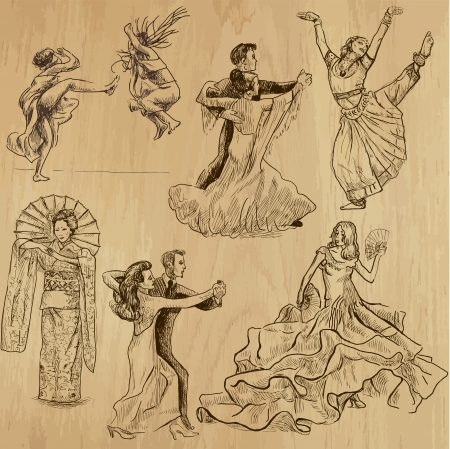 dancing people 1 - hand drawings into vector set  Çizim