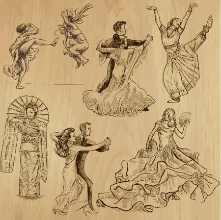 dancing people 1 - hand drawings into vector set  Vectores