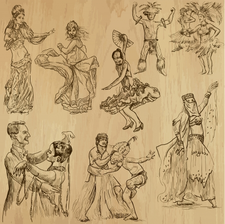 dancing people 2 - hand drawings into vector set Vector