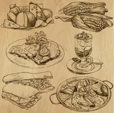 Food and Drinks around the World - drawings into vector set 3