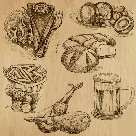 rumsteak: Nourriture et boissons dans le monde - des dessins dans le vecteur set 4