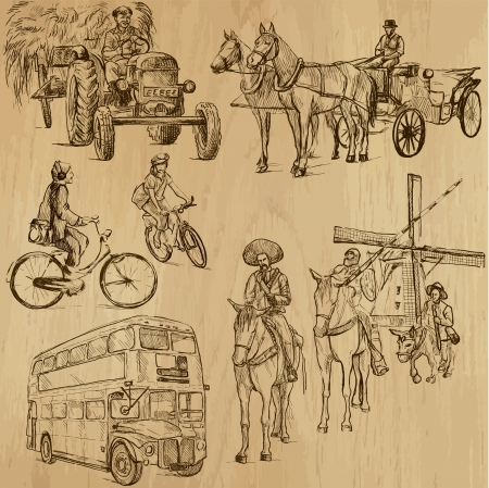 don quixote: Transportation around the World 3 - drawings into vector set