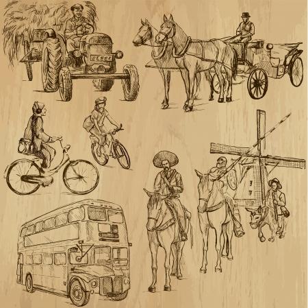 Transporte en todo el mundo 3 - dibujos en conjunto de vectores