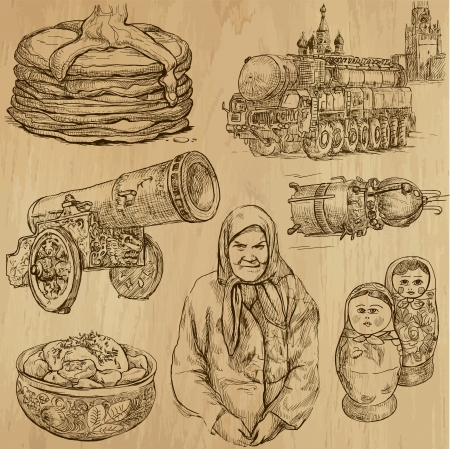 Traveling RUSSIA  set no 1  - Set of hand drawn illustrations   Vector