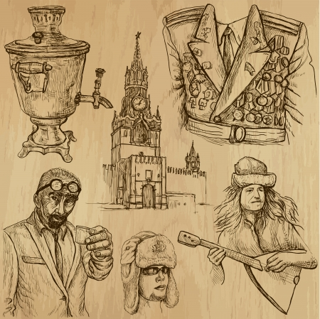 Traveling RUSSIA  set no 3  - Set of hand drawn illustrations   Vector
