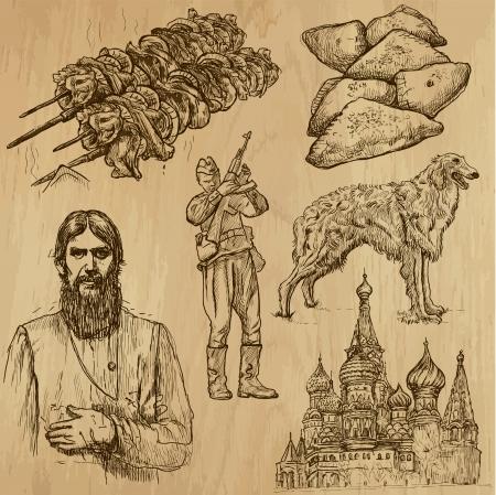 borzoi: Traveling RUSSIA  set no 4  - Set of hand drawn illustrations