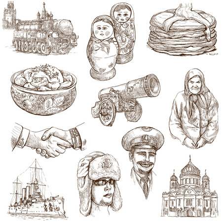 Traveling series  RUSSIA  Russian Federation , part 1 - Collection of an hand drawn illustrations on white  illustration