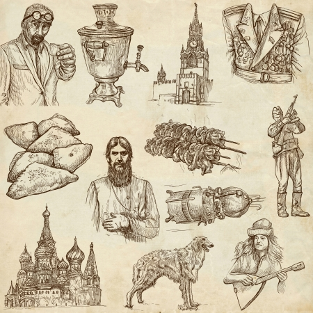 borzoi: Traveling series  RUSSIA  Russian Federation , part 2 - Collection of an hand drawn illustrations  Stock Photo