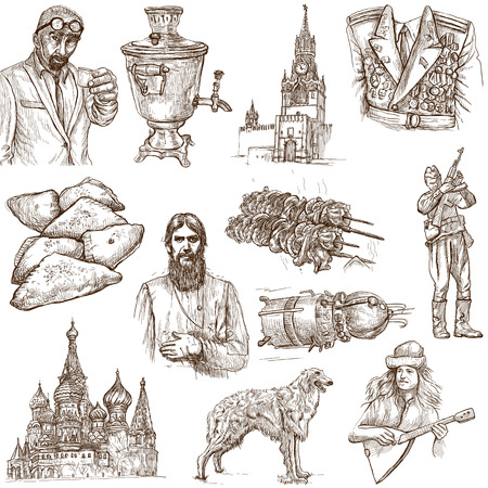 borzoi: Traveling series  RUSSIA  Russian Federation , part 2 - Collection of an hand drawn illustrations on white  Stock Photo