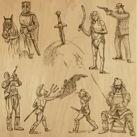 Soldiers, Warriors and Heroes  no 2  - Hand drawn illustrations  Vector