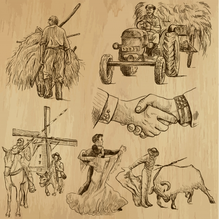 don quixote: People all over the world 13 - Hand drawn illustrations