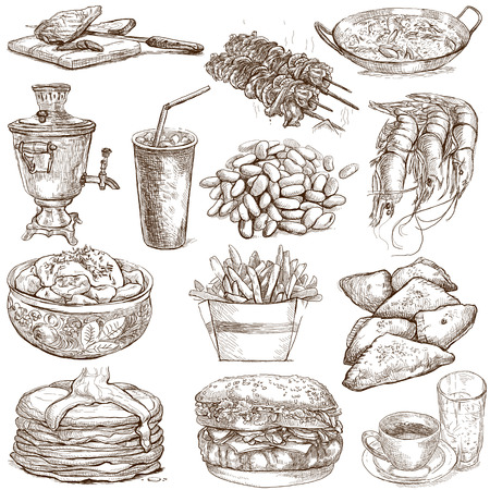 Food and Drinks around the World  set no 3  - Collection of an hand drawn illustrations  illustration