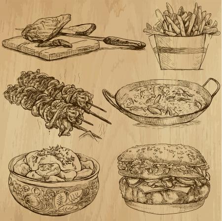 Eten en drinken rond de wereld stellen geen 5 Stock Illustratie