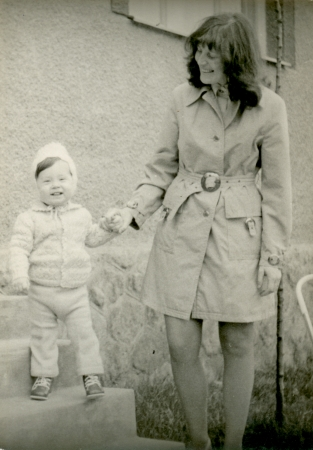 Young mother with her son - circa 1973  photo