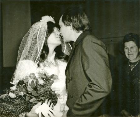 The Wedding Kiss - bride and groom - circa 1970