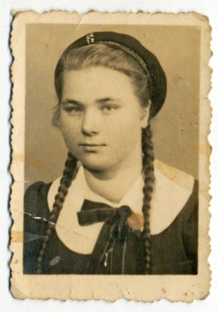 bulgaria girl: Ordinary portrait of an unknown girl - circa 1950