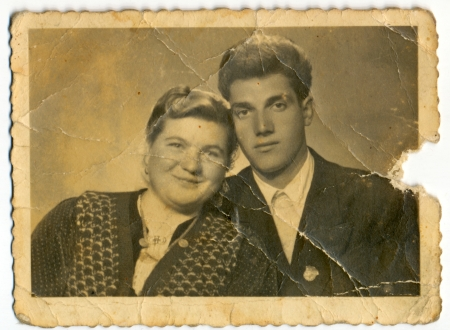 Common photo of a young man and young woman - circa 1945