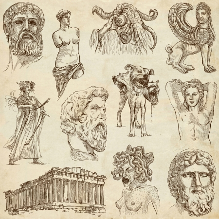 philosophers: Traveling series  GREECE, part 1 - Collection of an hand drawn illustrations   Stock Photo