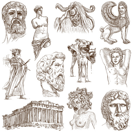 ancient creature: Traveling series  GREECE, part 1 - Collection of an hand drawn illustrations on white