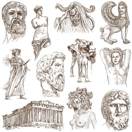 Serie Viaggiare GRECIA, parte 1 - Raccolta di un illustrazioni disegnate a mano su fondo bianco