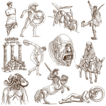 Traveling series  GREECE, part 2 - Collection of an hand drawn illustrations on white   illustration
