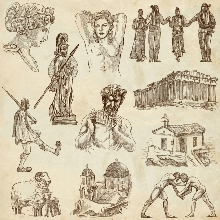athena: Traveling series  GREECE, part 3 - Collection of an hand drawn illustrations