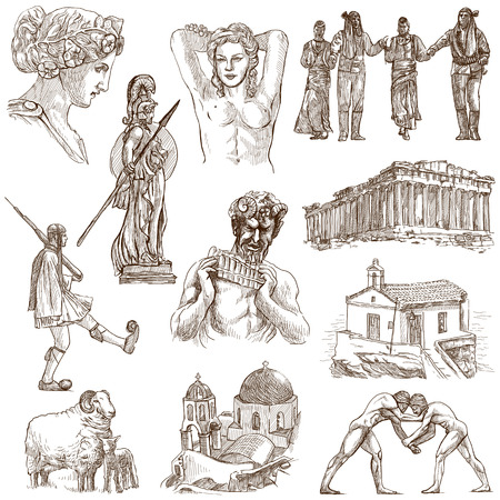 faun: Traveling series  GREECE, part 3 - Collection of an hand drawn illustrations on white   Stock Photo