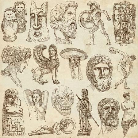 philosophers: Native and old art around the World  set no 5, paper set    Stock Photo