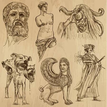 no 1: Traveling series  GREECE  set no 1  - drawings into vector set