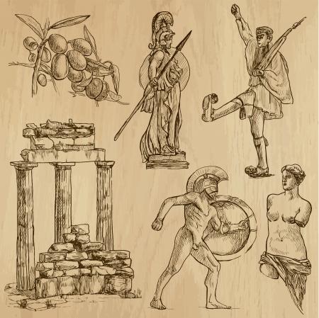 Traveling series  GREECE  set no 3  - drawings into vector set  Vector