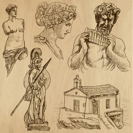 grecia antigua: Serie Viajando GRECIA establece ninguna 6 - dibujos en conjunto de vectores