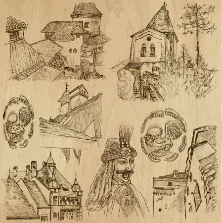 Traveling series  ROMANIA - Drawings into vector set 2