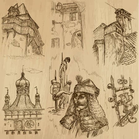 Traveling series  ROMANIA - Drawings into vector set 1