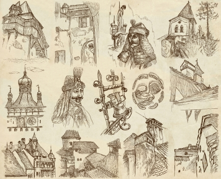 Traveling series  ROMANIA - Collection of an hand drawn illustrations
