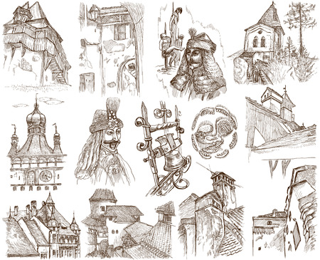 vlad: Traveling series  ROMANIA - Collection of an hand drawn illustrations