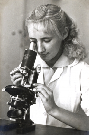 girl with the microscope - photo scan - about 1950