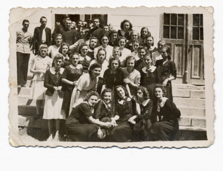 classmates  especially girls  - circa 1945 photo