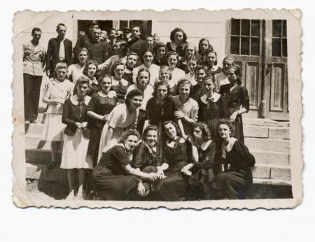 old photo: classmates  especially girls  - circa 1945