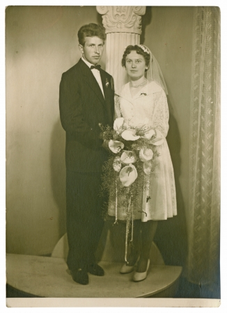 wedding day, bride and groom - circa 1955