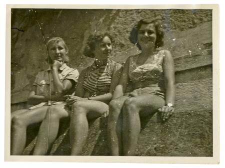 three girls on summer break  in bathing suits  - circa 1945