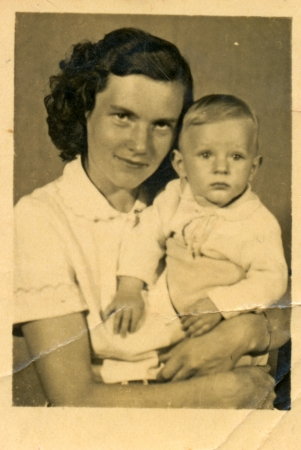 mother and child - circa 1950 photo