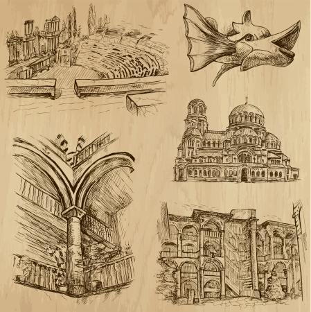 Traveling series  BULGARIA  set no 4  - drawings into vector  Ilustrace