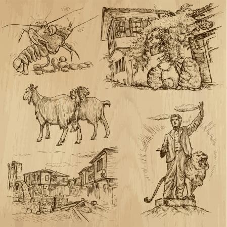 national hero: Traveling series  BULGARIA  set no 2  - drawings into vector
