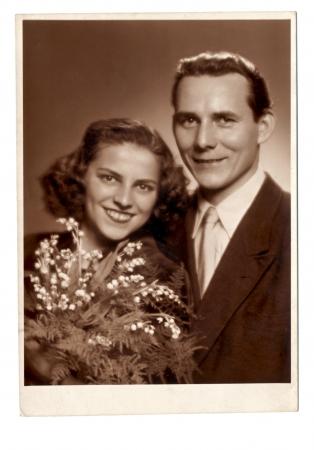 couple - vintage photo scan - about 1950  Foto de archivo
