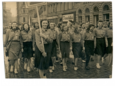 early fifties: Youth march in communist Czechoslovakia in Prague streets Early fifties - Circa 1952