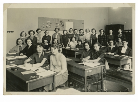 classmate: classmates at the school  girls  - circa 1945