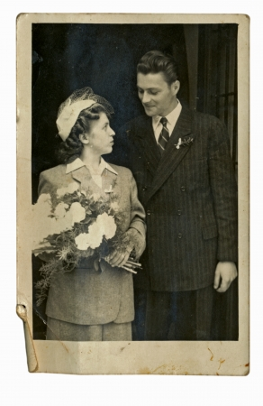 vintage style: bride and groom - circa 1945
